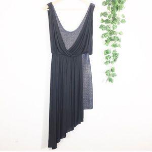 Free People Blue Black Metallic Drape Dress XS